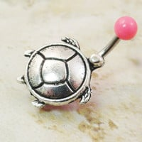 Pink Turtle Belly Button Ring Jewelry