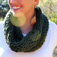 Knitted Tube Scarf in Hunter by KaylaKozy on Etsy