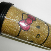 Gold Hello Kitty Glitter Travel Mug by C0LYN on Etsy