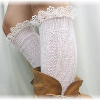 BKS10 Pink Delicate lace edge knee socks