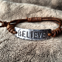 BELIEVE ID Bracelet silver leather Hand Stamped by DESIGNbyANCE