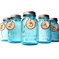 Antique Blue Mason Jar Flower Vase Centerpieces with Frog Lids - Set of 5
