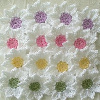 Fresh as a Daisy - Crochet Flowers, Appliques - set of 16