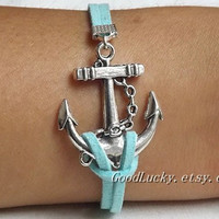 Unisex  simple fashion Antique Silver anchor  pendant bracelet-- blue wax rope  leather braided bracelet