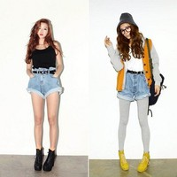 Retro Fashion Women Loose High Waist Washing Denim Shorts OP1016