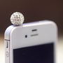 Kawaii Bling Bling CRYSTAL BALL in 3 Colors Iphone Earphone Plug/Dust Plug - Cellphone Headphone Handmade Decorations