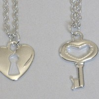 Heart Shaped Lock and Key Charm Friendship Necklaces for Best Friends