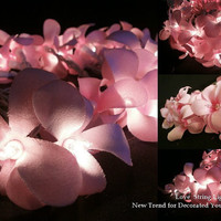 Sweet Pink Frangipani Flower String Lights For Wedding and House decoration (20 Flowers/Set)