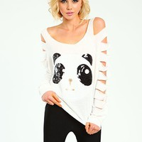 Sequin Panda Shredded Top