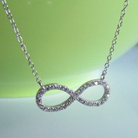 "Sterling Silver CZ Infinity Necklacelace On 16""+2"" Cable Chain"
