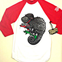 Filthy Dripped Chameleon Raglan White Red