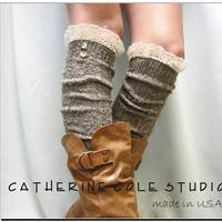 BROWN Nordic Lace Boot Sock -Something special for your tall boots tweed cable knit long over the knee socks w/ 2 buttons, Catherine ColeFrom CatherineColeStudio
