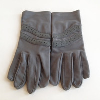 Grey Ladies Gloves with Leather Palms by ModernFiction on Etsy
