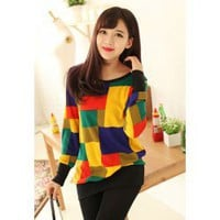 Casual Scoop Neck long Sleeves Pattern Splicing Long Style Cotton Blend Sweater For Women