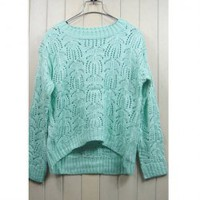Sweet Style Scoop Neck Flower Openwork Long Sleeve Knitting Sweater For Women
