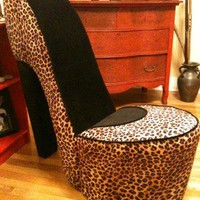 ***NEW*** Leopard & Black Handmade High Heel Shoe Chair ***FREE SHIPPING***