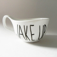 wake up and LIVE - curved mug // hand-drawn/written