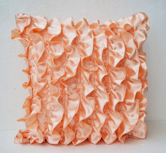 Peach Decorative Throw Pillows : Peach Satin Ruffle Pillow - Decorative from AmoreBeaute on Etsy