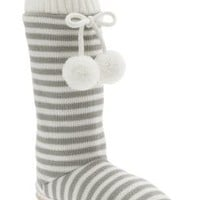 Women's Striped Sweater-Knit Slipper Boots