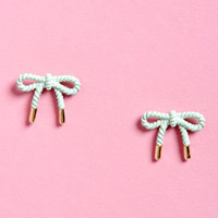 Way to Bow Mint Green Bow Earrings