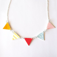 Bunting Colourful Hand Drawn Necklace
