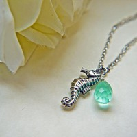 Antique Silver Seahorse Necklace With Aqua Teardrop Briolette. Marine. Nautical. Summer | Luulla
