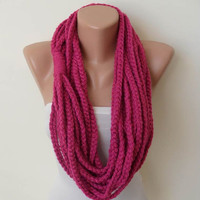 Mother's Day -Chain Scarf - Wool Crochet Knit Necklace Scarf - Dark Pink - Infinity - Loop - Circle - Circular - Cowl by Umbrella Design