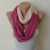 Mother's Day - Soft Tricot Fabric - Pink and Salmon Infinity - Cowl - Loop Scarf by Umbrella Design