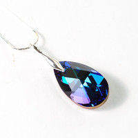 Swarovski Crystal Necklace Pendant Dark Blue Valentine Gift For Her