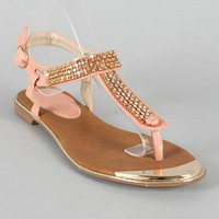 Adria-1 Jeweled T-Strap Flat Sandal