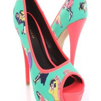 Green Pin Up Girl Printed Fabric Platform Pump Heels