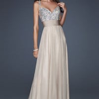 Gorgeous dresses — Gorgeous Long Nude Sequin Prom Dress 2013