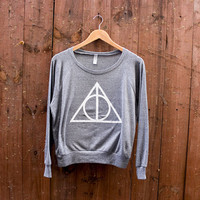 V-DAY SPECIAL - Women&#x27;s Deathly Hallows American Apparel Tri-Blend Pullover in Heather Grey