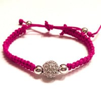 Fuchsia Raspberry Pink Macram Silver Rhinestone Pave Beaded Bracelet Arm Candy Jewelry Stackable Dollar Shipping Party