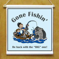 Gone Fishin' Door or Wall Printed Hanging Banner Sign with Cartoon Fisherman
