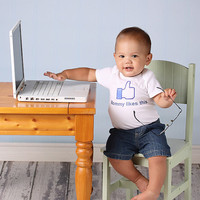 Mommy Likes This - Personalized Baby Onesuit - Toddler Tee  also available - You Fill in Your Name Choice