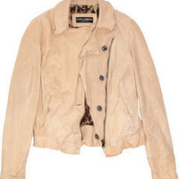 Dolce &amp; Gabbana|Washed-leather motocross jacket|NET-A-PORTER.COM