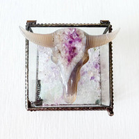 Ziggy Ram Dust - Beveled Glass Jewelry Box with Agate Crystal Carved Bull Skull