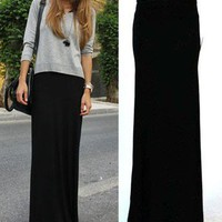 BLACK FOLD OVER WAIST BANDED URBAN MINIMALIST JERSEY KNIT LONG MAXI SKIRT XL