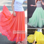 Full Circle Chiffon Skirt Long Skirt XS~3XL #GF0681