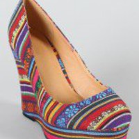 River-80 Tribal Print Round Toe Wedge