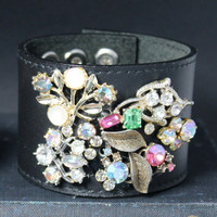 Black Leather Cuff with Embellished with Vintage Jewelry...OOAK