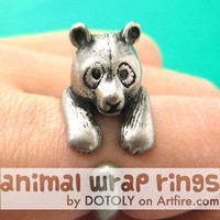 Large 3D Panda Bear Animal Wrap Around Hug Ring in Silver Sizes 4 to 9
