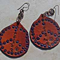 Hippie Leather Peace Earrings Hippie Bohemian Direct Checkout Statement Woman