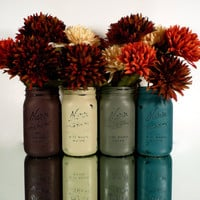 Wedding and Home Decor - Painted and Distressed Shabby Chic Mason Jars - Vase - Country Harvest