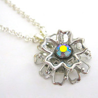 Silver Flower Power Necklace Repurposed Handmade Jewelry OOAK Fashion Costume Jewelry