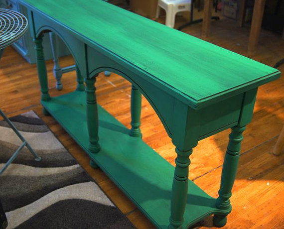 Green Foyer Table : Green table entry way painted from
