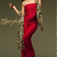 Wholesale Off-Shoulder Ruffle Straight Elastic Waist Jumpsuit Red
