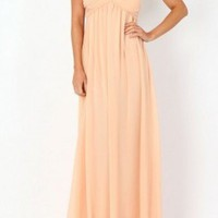 Peach Strapless Maxi Dress with Gathered Sweetheart Top