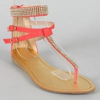 Ellie-1 Jeweled T-Srap Flat Sandal